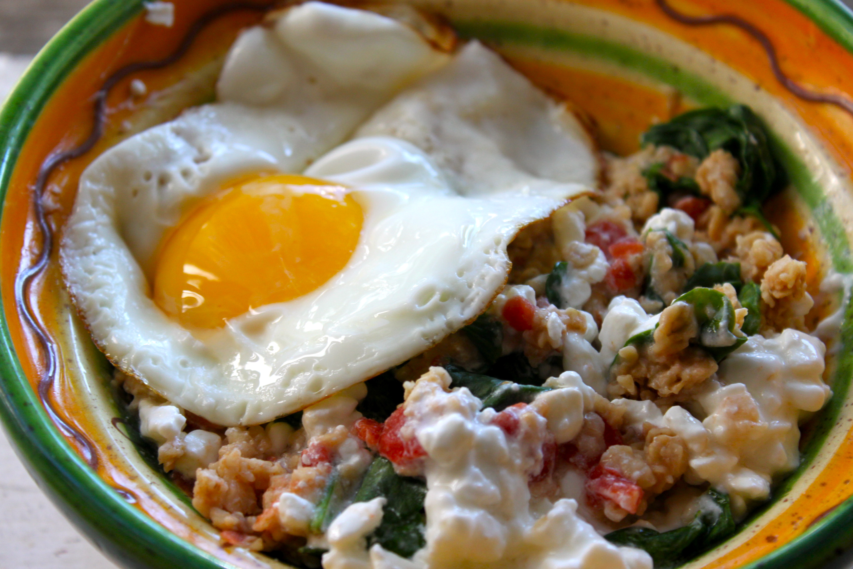 Elegant Savory Oats With Tomato, Spinach And Cottage Cheese